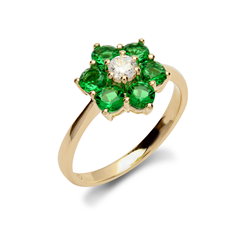 9ct Yellow Gold CZ & Green Cluster Flower Ladies Ring