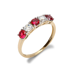 9ct Yellow Gold CZ & Red 5 Stone Half Eternity Ladies Ring