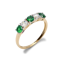 9ct Yellow Gold CZ & Green 5 Stone Half Eternity Ladies Ring
