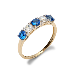 9ct Yellow Gold CZ & Blue 5 Stone Half Eternity Ladies Ring