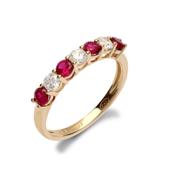 9ct Yellow Gold CZ & Red 7 Stone Half Eternity Ladies Ring