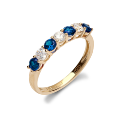 9ct Yellow Gold CZ & Blue 7 Stone Half Eternity Ladies Ring