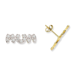 9ct Yellow Gold CZ Mum Stud Earrings