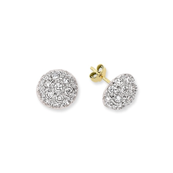 9ct Yellow Gold CZ Dome Stud Earrings (Medium)