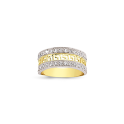 9ct Yellow Gold CZ & Greek Key Ladies Ring