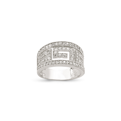 9ct White Gold CZ Greek Key Ladies Ring