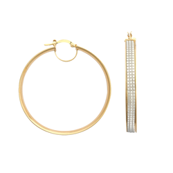 9ct Yellow Gold 40mm Princess Style Glitter Hoop Earrings