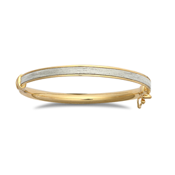 9ct Yellow Gold New Baguette Style Glitter Baby Bangle