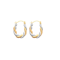 9ct Gold Two Tone Creole Earrings