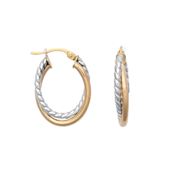 9ct Gold Two Tone Oval Hoop Earrings