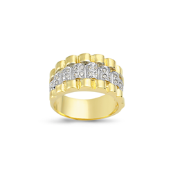 9ct Yellow Gold Cz Rolex Style Gents Ring