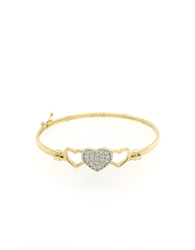 9ct Yellow Gold Baby Triple Hearts Bangle