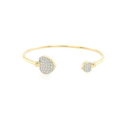 9ct Yellow Gold Baby Double Cz Hearts Bangle
