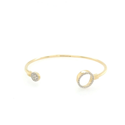 9ct Yellow Gold Baby Double CZ Circle Bangle
