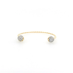 9ct Yellow Gold Cz Twist Baby Torque Solid Bangle