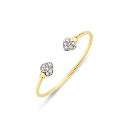 9ct Yellow Gold Heart Cz Kids Solid Bangle