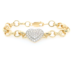 9ct Yellow Gold Cz Heart Belcher Kids Bracelet