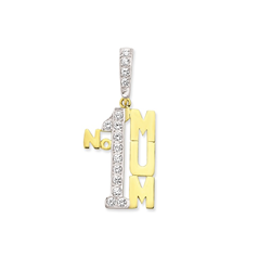 9ct Yellow Gold Cz No1 Mum Pendant