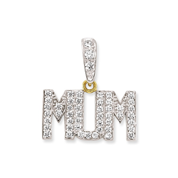 9ct Yellow Gold Cz Mum Pendant