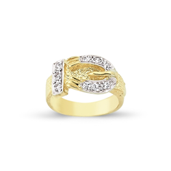 9ct Yellow Gold Kids Cz Horseshoe Ring A-J