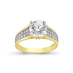 9ct Yellow Gold Cz Ring 3 Row Shoulder
