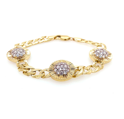 9ct Yellow Gold 9mm Round Cz Ladies Bracelet
