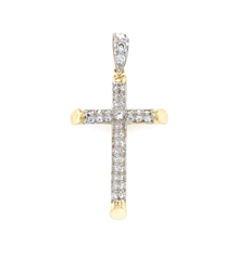 9ct Yellow Gold Cz Cross