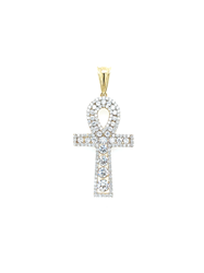 9ct Yellow Gold Cz Ankh Cross