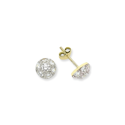 9ct Yellow Gold Cz Dome Stud Earrings (SMALL)