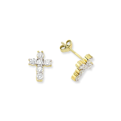 9ct Yellow Gold CZ Cross Stud Earrings