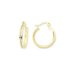 9ct Yellow Gold CZ Hoop Earrings
