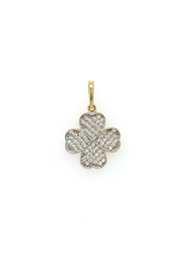 9ct Yellow Gold CZ Four Leaf Clover Pendant