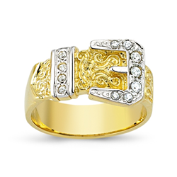 9ct Yellow Gold Cz Buckle Ring