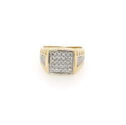 9ct Yellow Gold CZ Brickwork Gents Ring