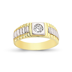 9ct Yellow Gold CZ Brickwork Sides Ring