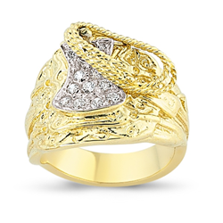 9ct Yellow Gold Cz Gents Saddle Ring