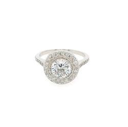 9ct White Gold Round Halo Style Cubic Zirconia Ring With CZ Shoulders