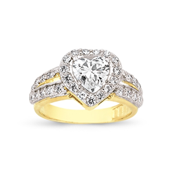 9ct Yellow Gold Heart Cz Ladies Ring Centre Stone + Shoulder