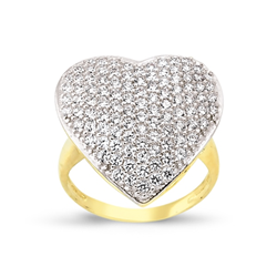 9ct Yellow Gold Large Cz Heart Ring