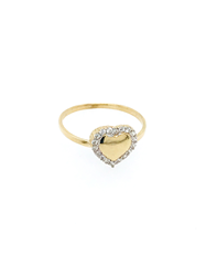 9ct Yellow Gold CZ Heart Ring
