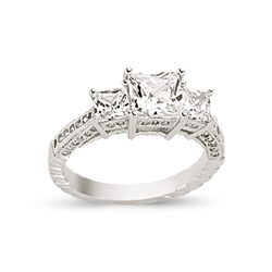 9ct white Gold Cz 3 Stone Ring + Shoulders