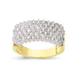 9ct Yellow Gold 5 Row Cz Ladies Ring