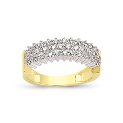 9ct Yellow Gold 3 Row Cz Ladies Ring