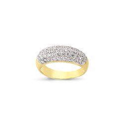 9ct Yellow Gold 4 Row Domed Cz Ring