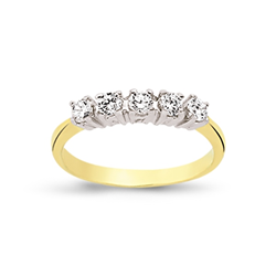9ct Yellow Gold 5 Stone Cz Ring