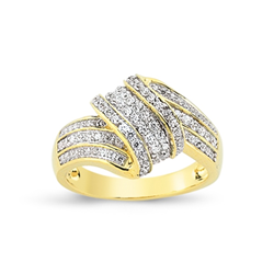 9ct Yellow Gold Cz Twist Style Ladies Ring