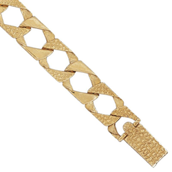 9ct Yellow Gold Kids Plain and Engraved Curb Bracelet