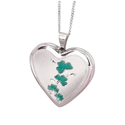 Sterling Silver Shamrock 20mm Heart Locket
