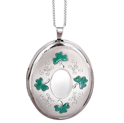Sterling Silver Shamrock 20mm Oval Locket