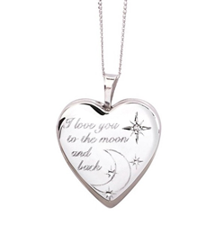 Sterling Silver Diamond 'I Love You To The Moon And Back' 20mm Heart Locket